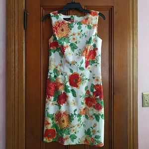 AGB orange floral knee length dress